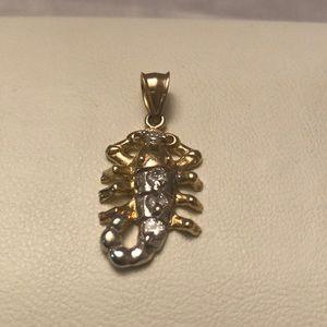 10kt gold scorpion pendant with zirconia stones
